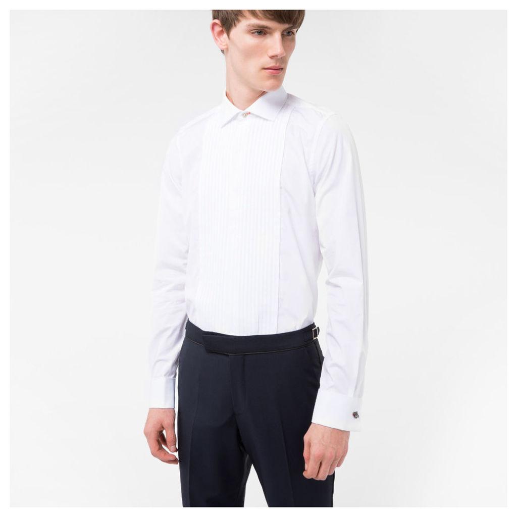 Men's Tailored-Fit White Pleat-Front Cotton Evening Shirt