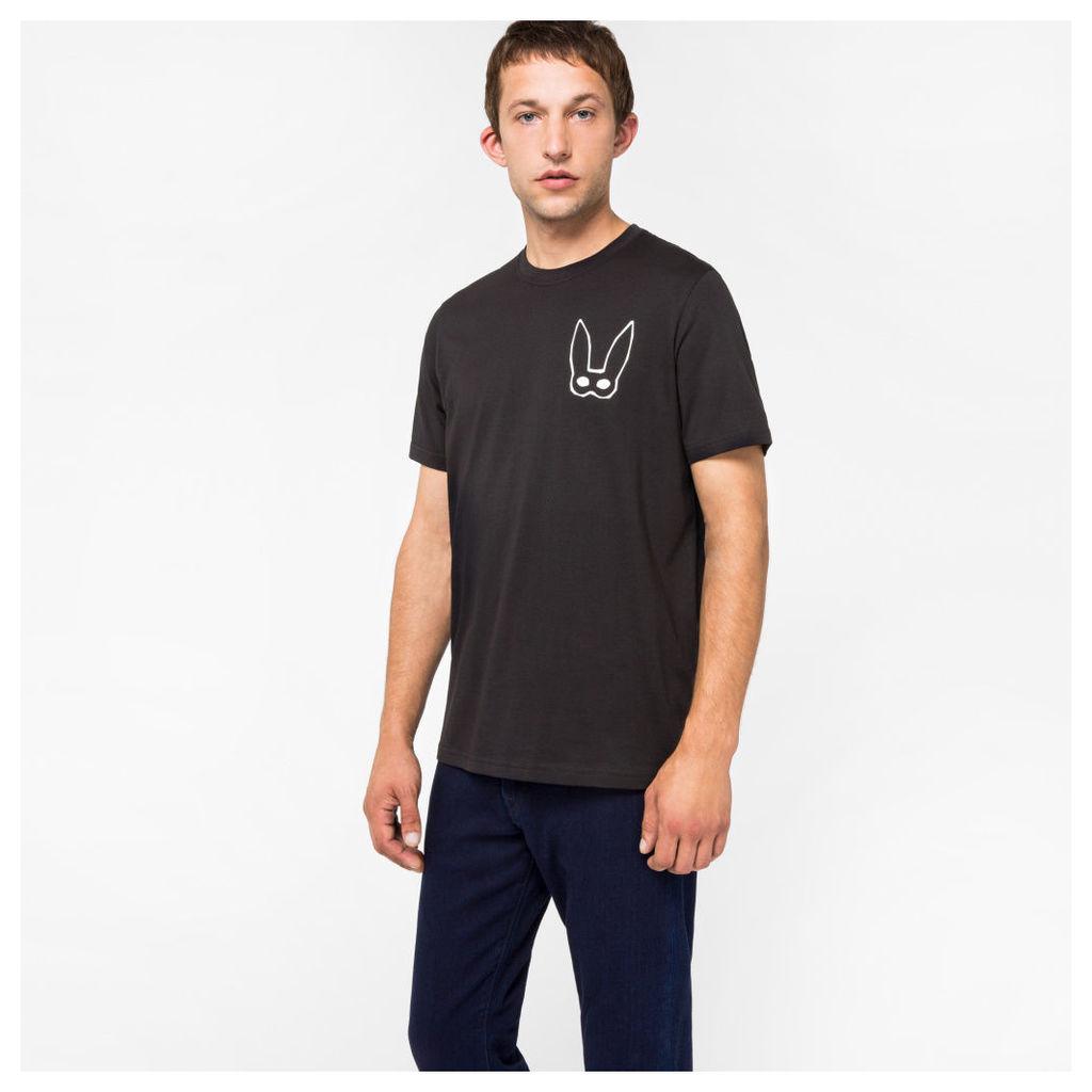 Men's Black Organic-Cotton 'Rabbit Mask' Print T-Shirt