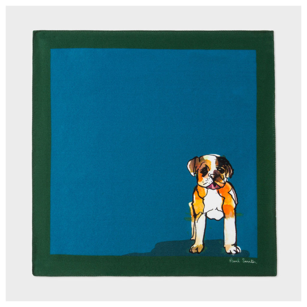 Men's Petrol 'Dog' Print Silk Pocket Square