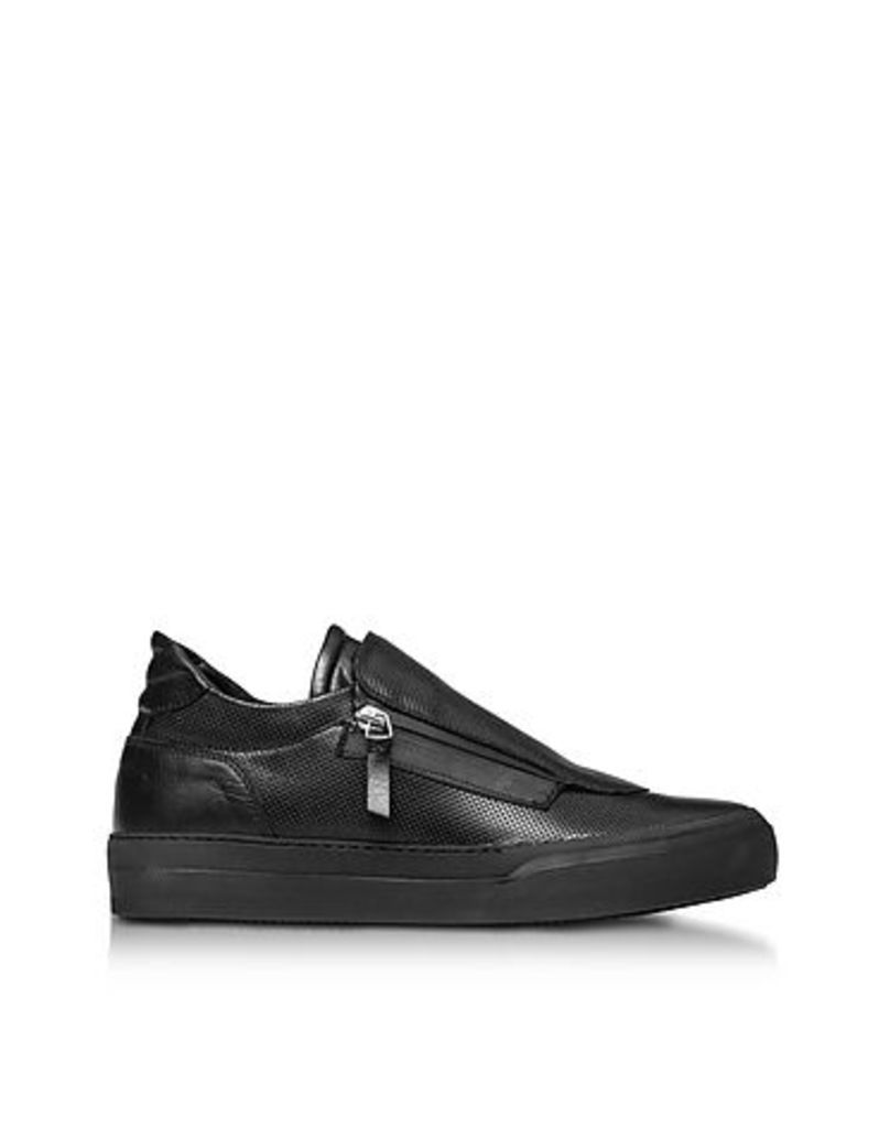 Ylati - Giove Black Perforated Nappa Leather Low Top Men's Sneakers