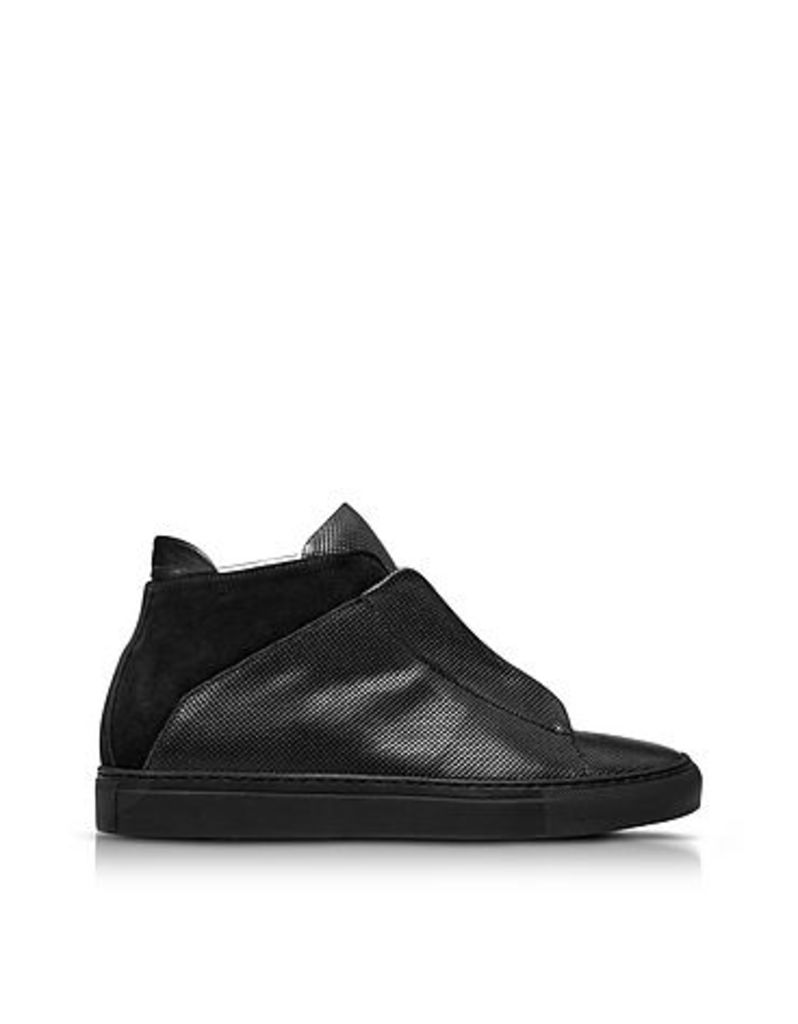 Ylati - Nerone Black Perforated Leather and Suede High Top Men's Sneakers