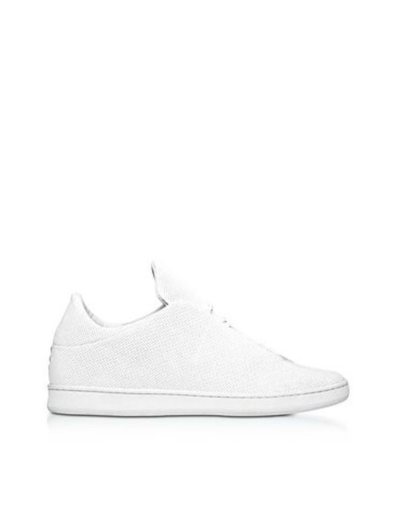 Ylati - Virgilio White Perforated Nappa Leather Low Top Men's Sneakers