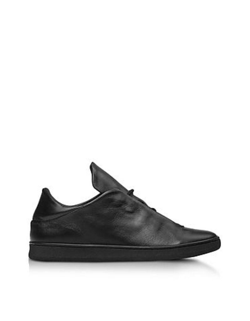 Ylati - Virgilio Black Nappa Leather Low Top Men's Sneakers