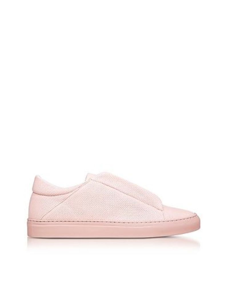 Ylati - Nerone Pink Perforated Leather Low Top Men's Sneakers