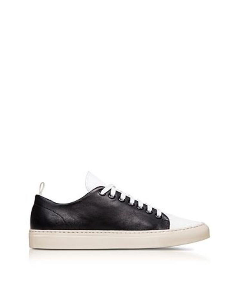 Ylati - Sorrento Black and White Leather Low Top Men's Sneakers