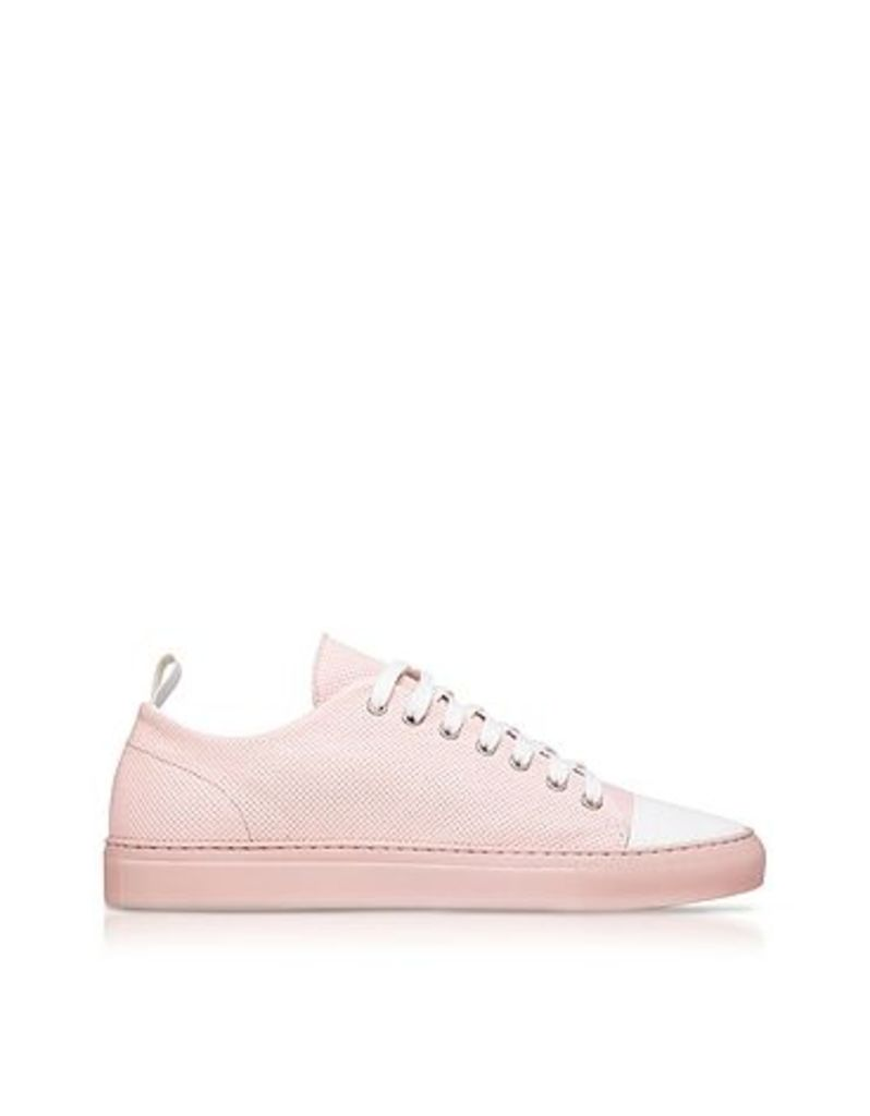 Ylati - Sorrento Pink Perforated Leather Low Top Men's Sneakers