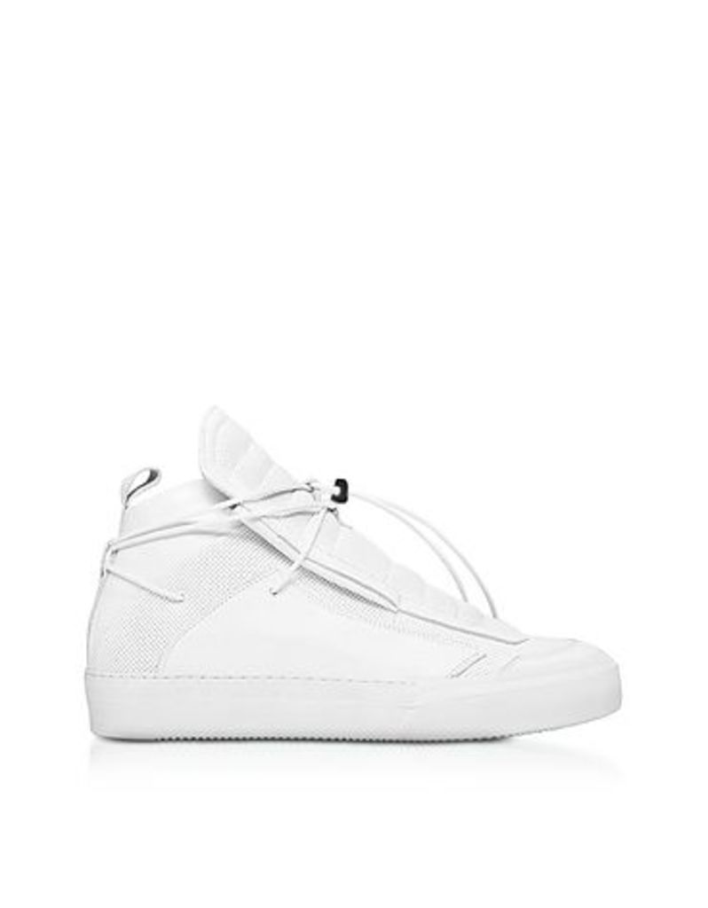 Ylati - Ulisse White Perforated and Smooth Nappa Leather High Top Men's Sneakers