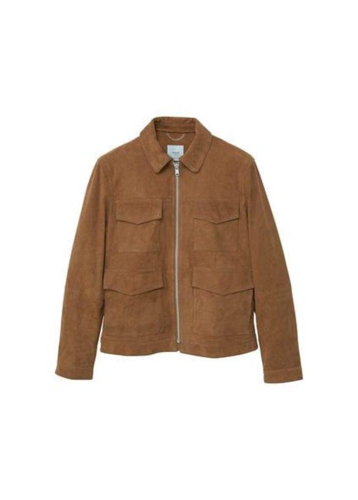 Flap-pocket suede jacket