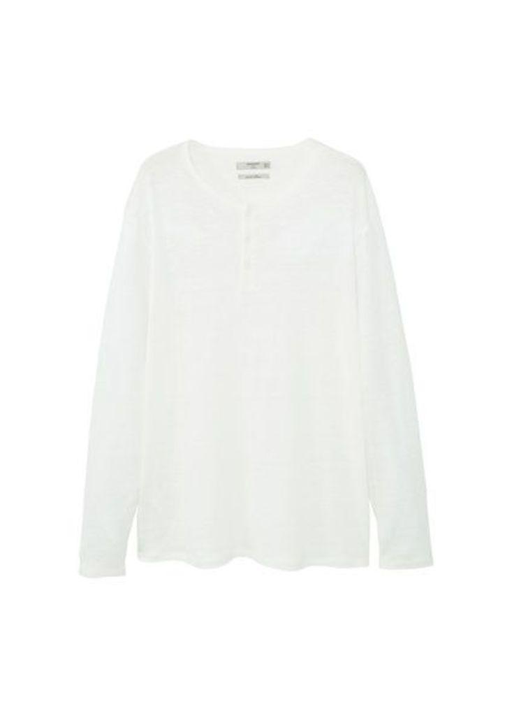 Flecked linen-blend t-shirt