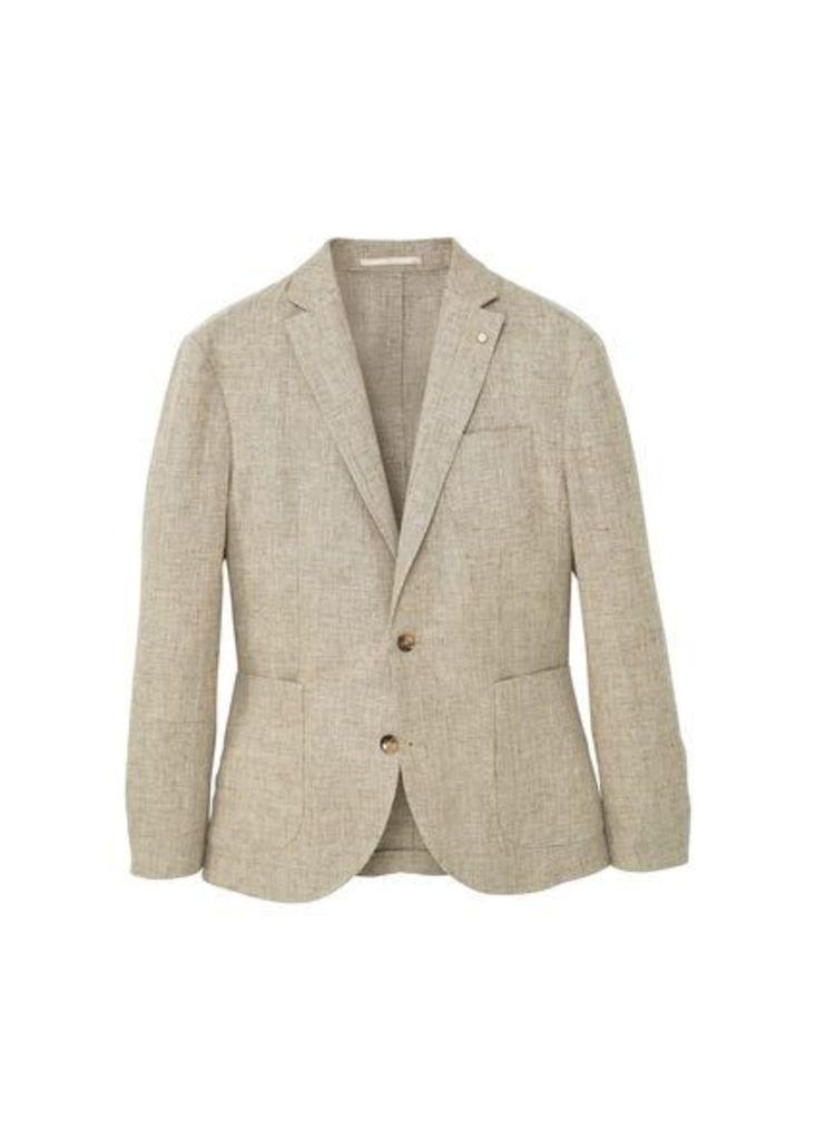 Slim-fit linen suit blazer