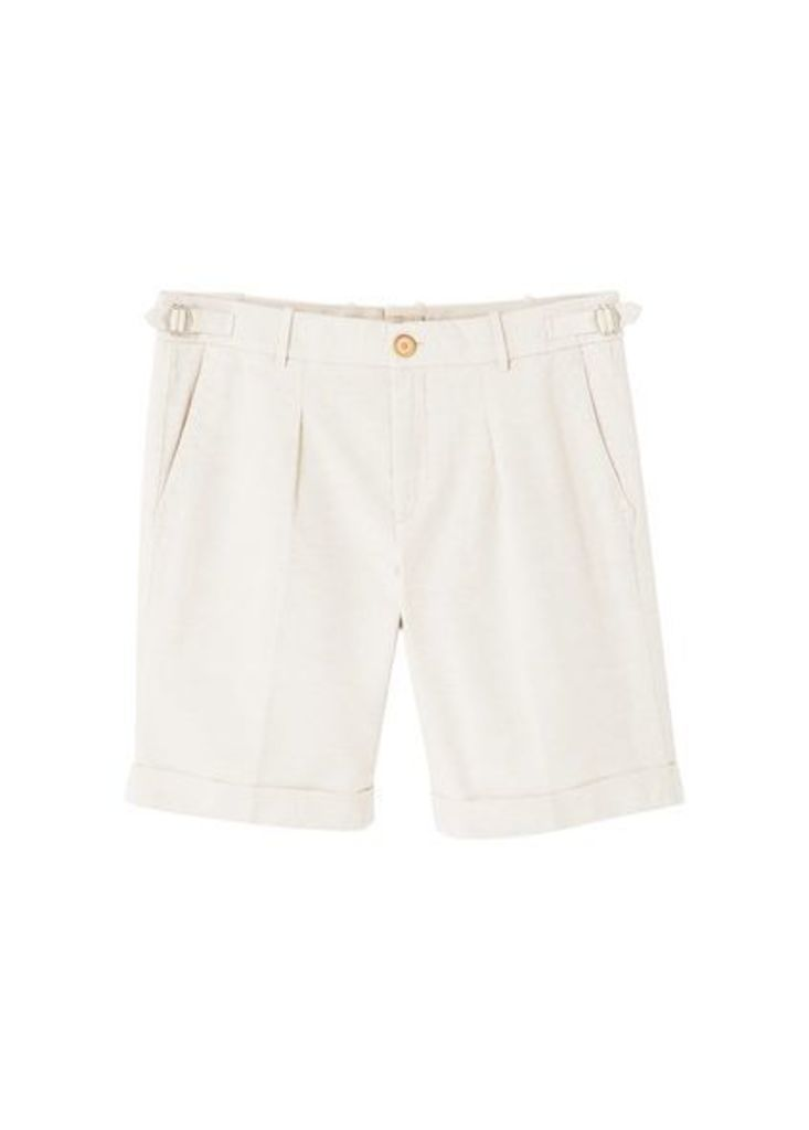 Linen-cotton blend bermuda short