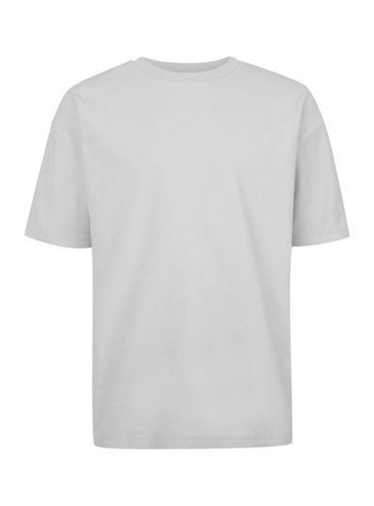Mens LTD Grey Textured Oversized T-Shirt, GREY