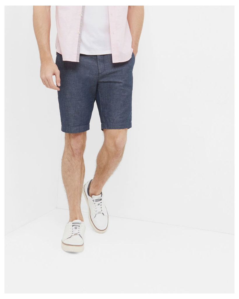 Ted Baker Cotton and linen-blend shorts Navy