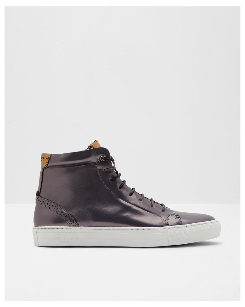Ted Baker Brogue detail hi-top trainers Charcoal