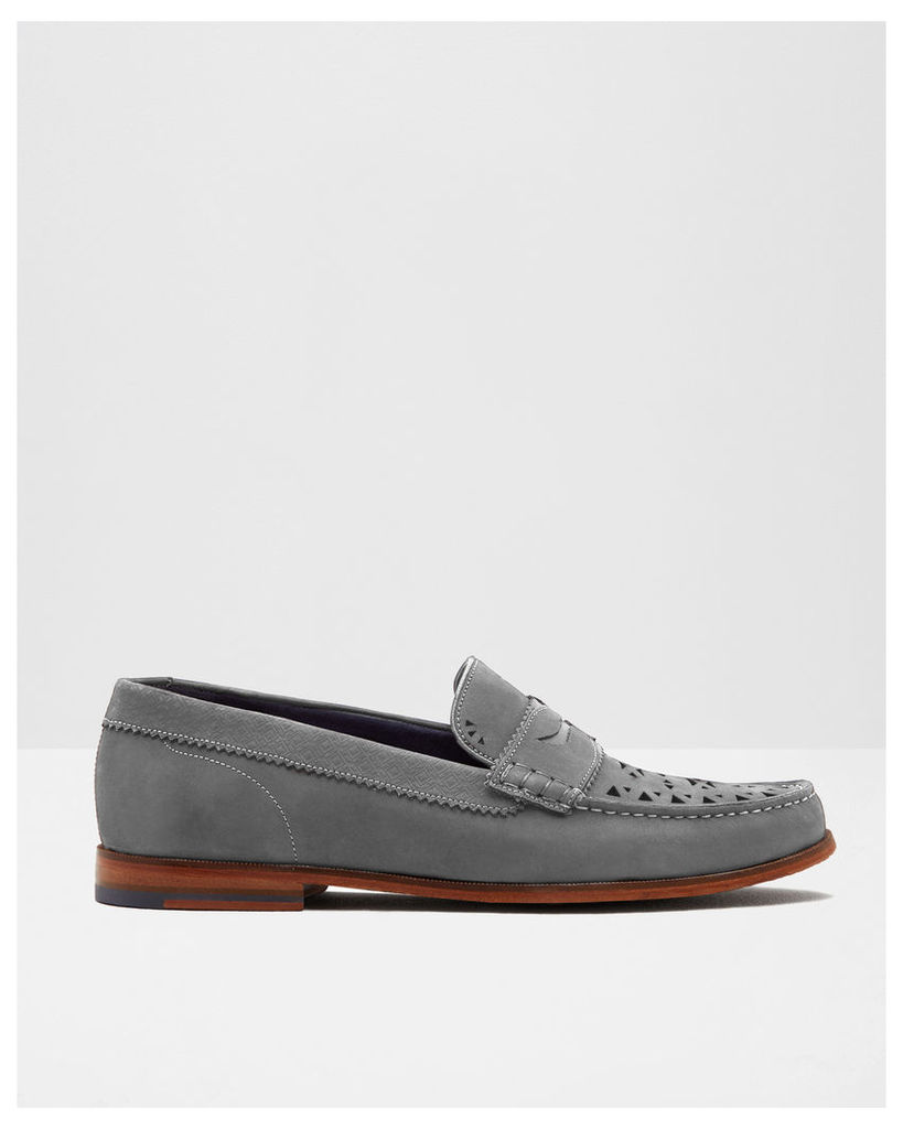 Ted Baker Nubuck suede cut-out loafers Grey