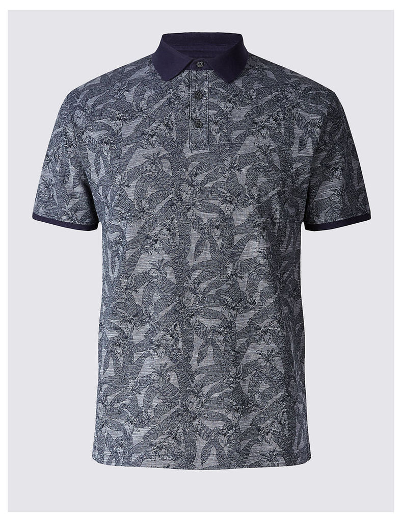 Limited Edition Pure Cotton Floral Print Polo Shirt