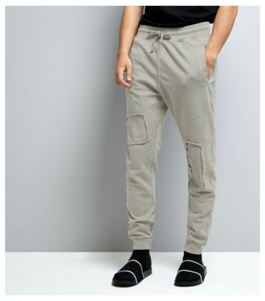 Stone Patch Detail Ripped Joggers