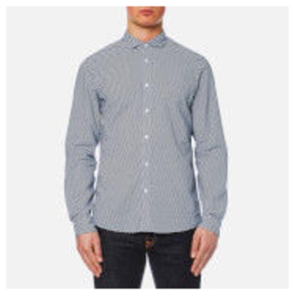 Michael Kors Men's Slim Long Sleeve Mk Collar Shirt - Midnight Blue - XL