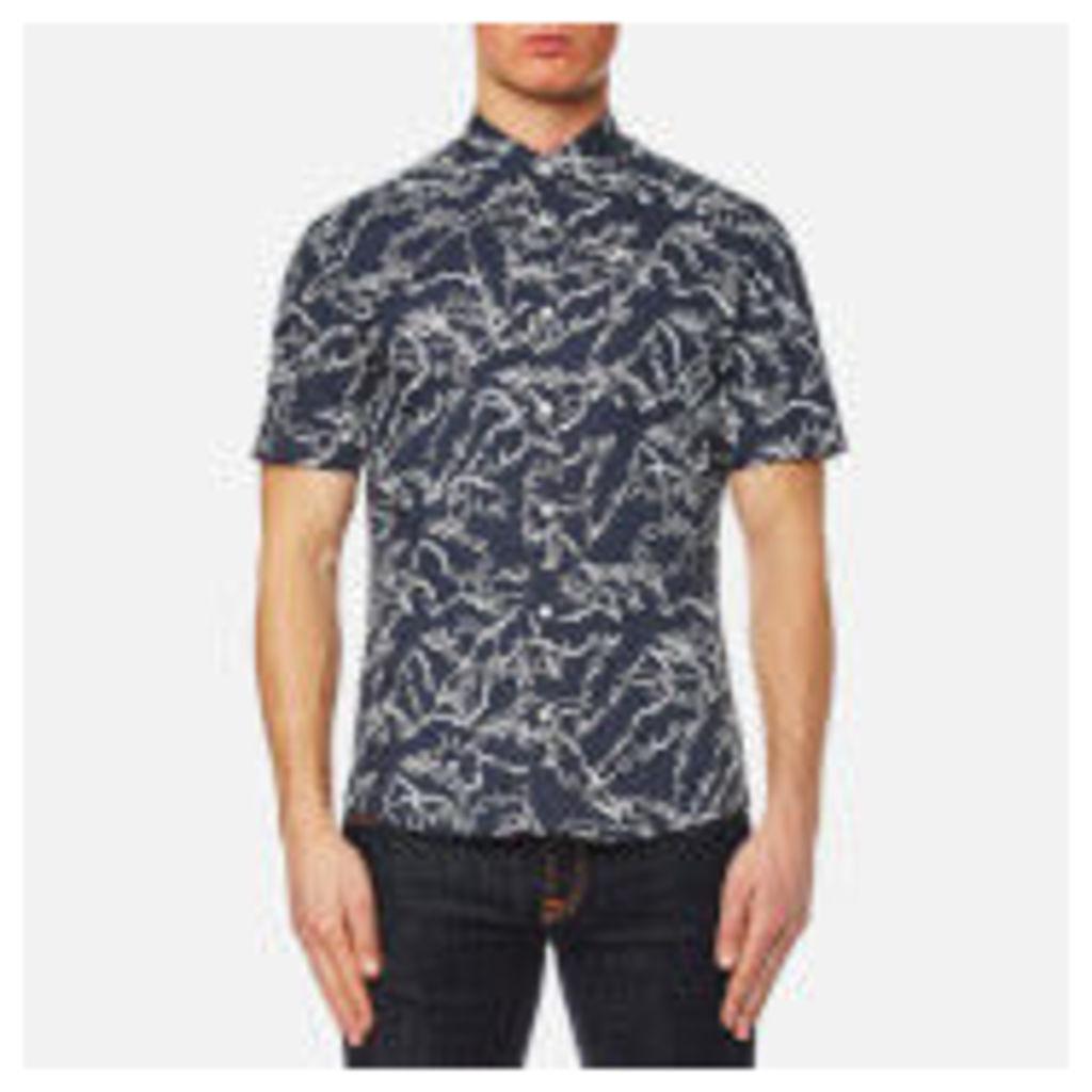 Michael Kors Men's Slim Fit Palm Print Long Sleeve Shirt - Navy - XL