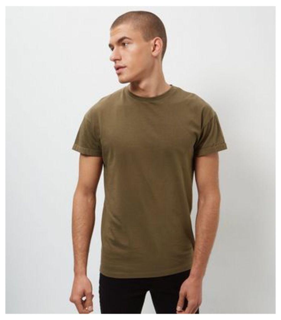 Khaki Roll Sleeve T-Shirt