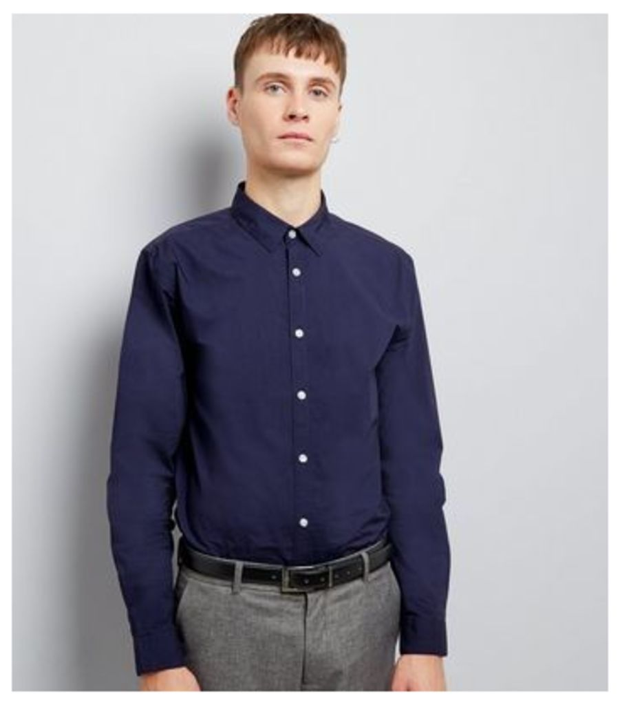Navy Washed Cotton Long Sleeve Shirt