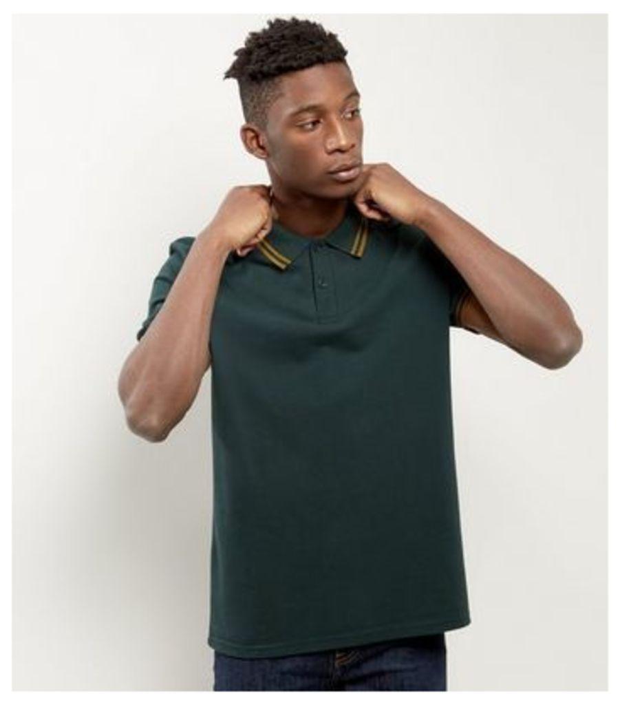 Dark Green Contrast Trim Polo Shirt
