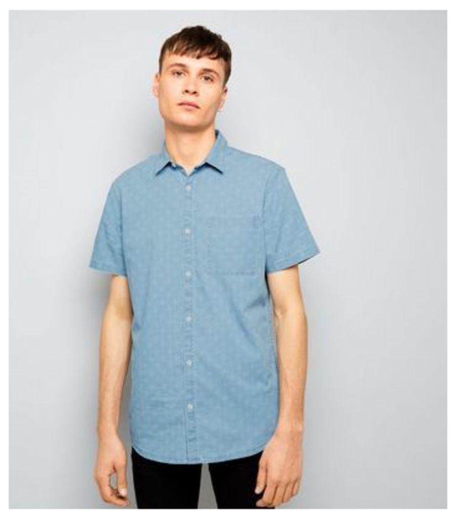 Blue Patterned Short Sleeve Denim Shirt