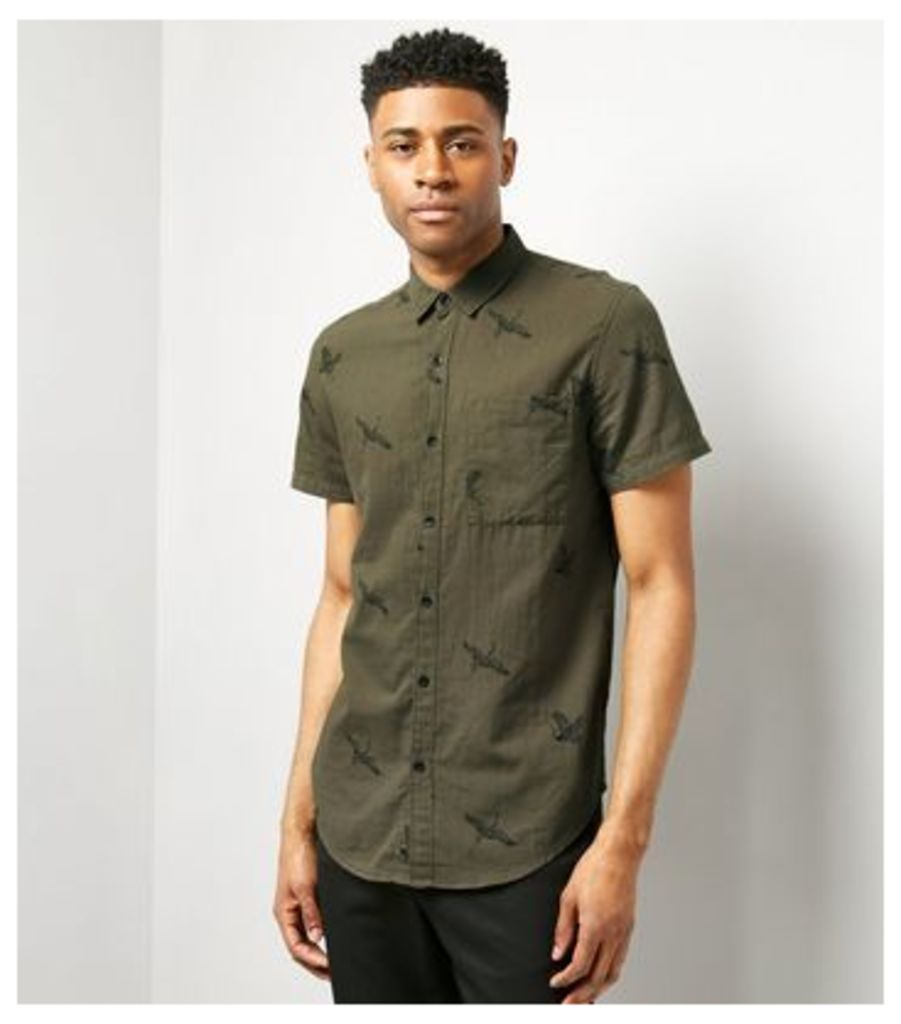 Khaki Bird Print Short Sleeve Shirt