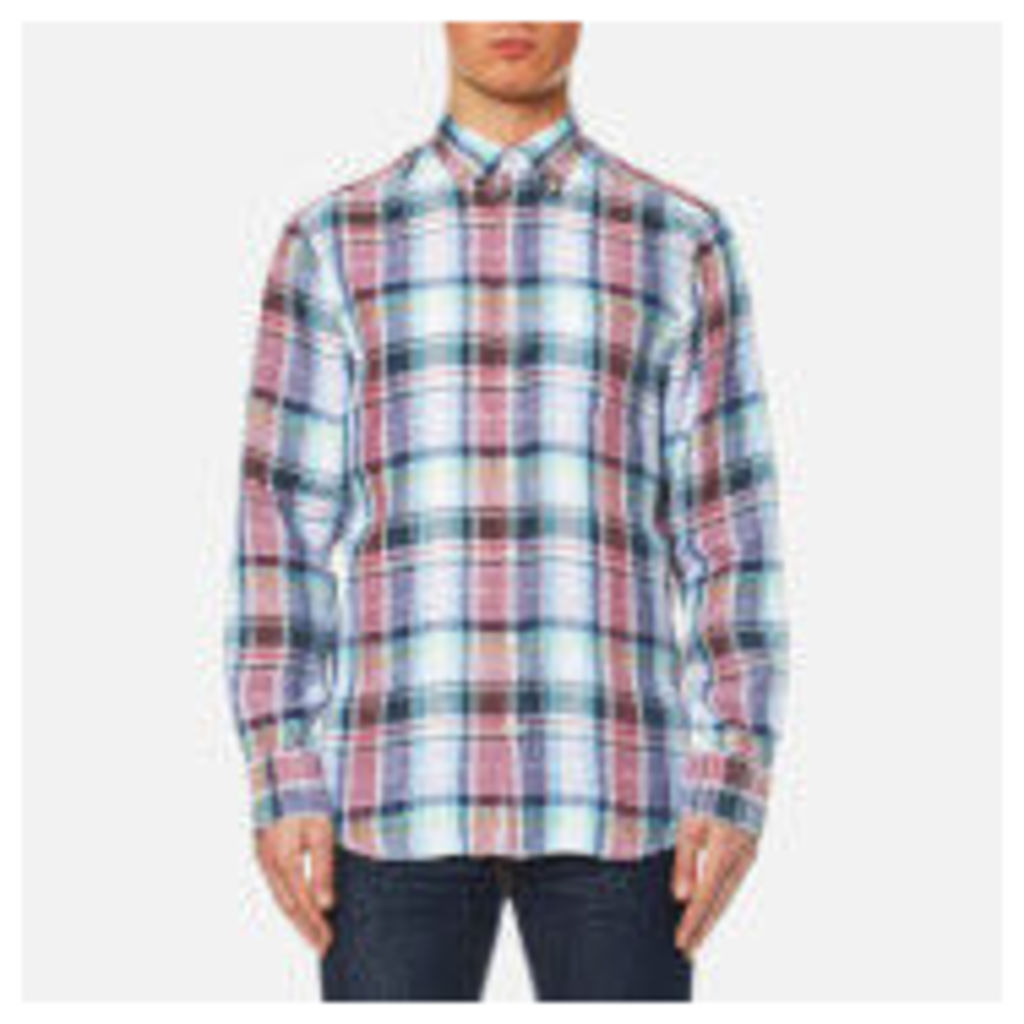 GANT Men's Linen Plain Long Sleeve Shirt - Persian Blue - XL