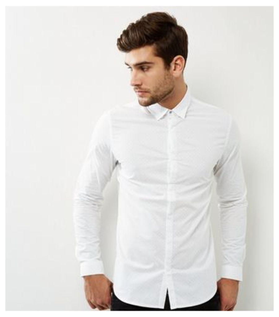 White Geomtric Long Sleeve Shirt