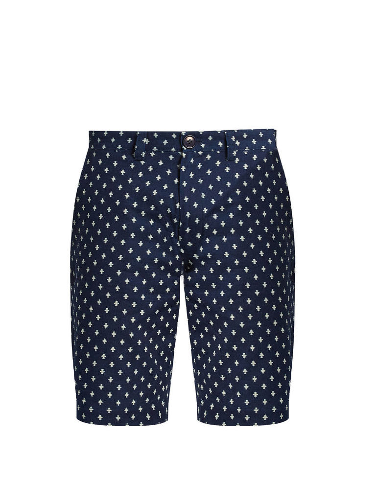 Slim-leg polka-dot cotton shorts