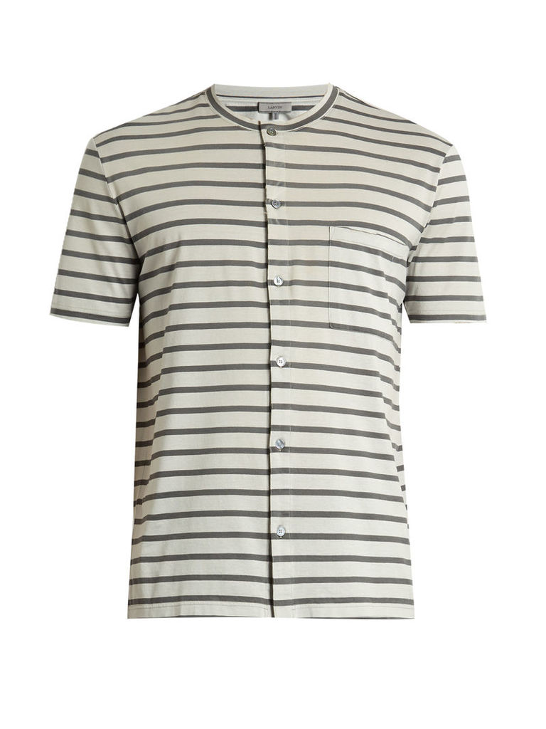 Striped button-through cotton T-shirt