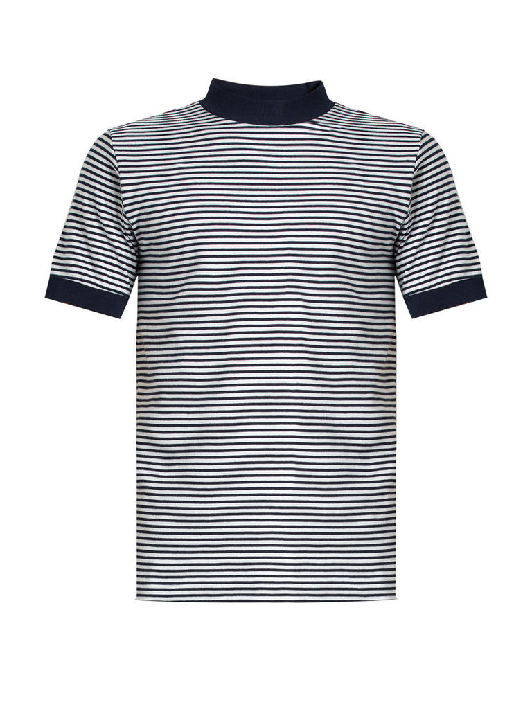 Crew-neck striped cotton-blend jersey T-shirt