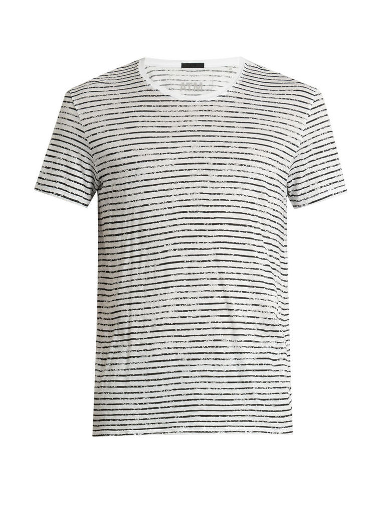 Crew-neck striped cotton-jersey T-shirt