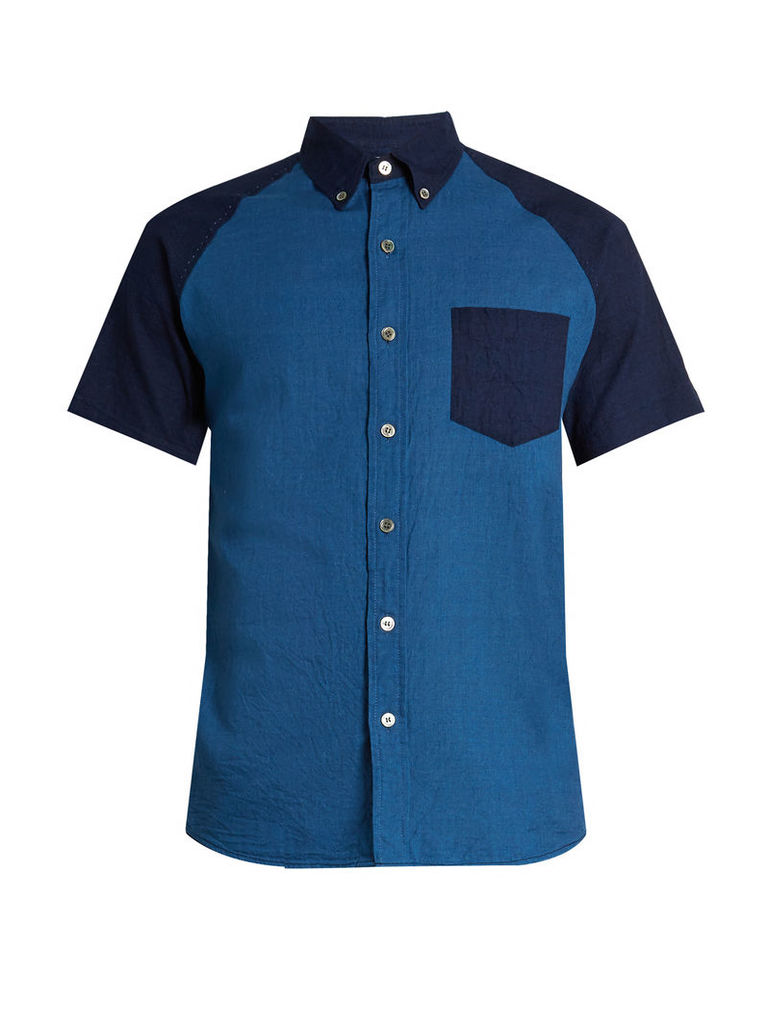 Short-sleeved contrast-panel cotton shirt