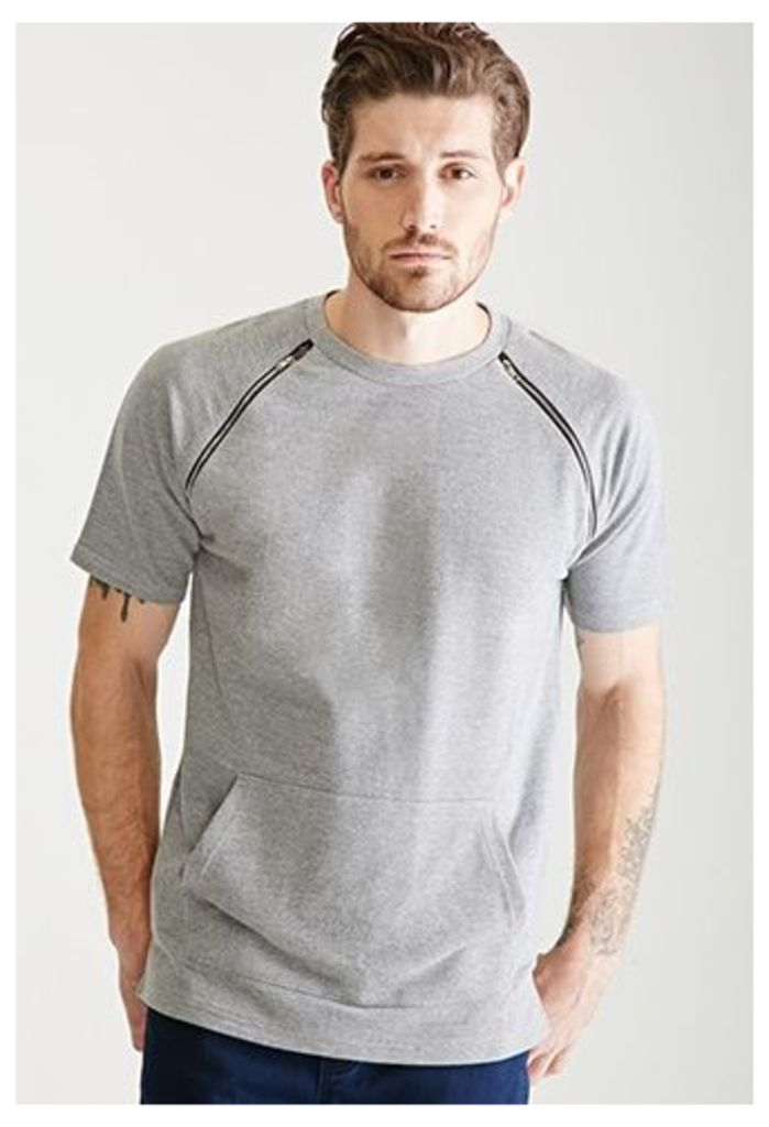 Zippered Crew Neck Sweatshirt