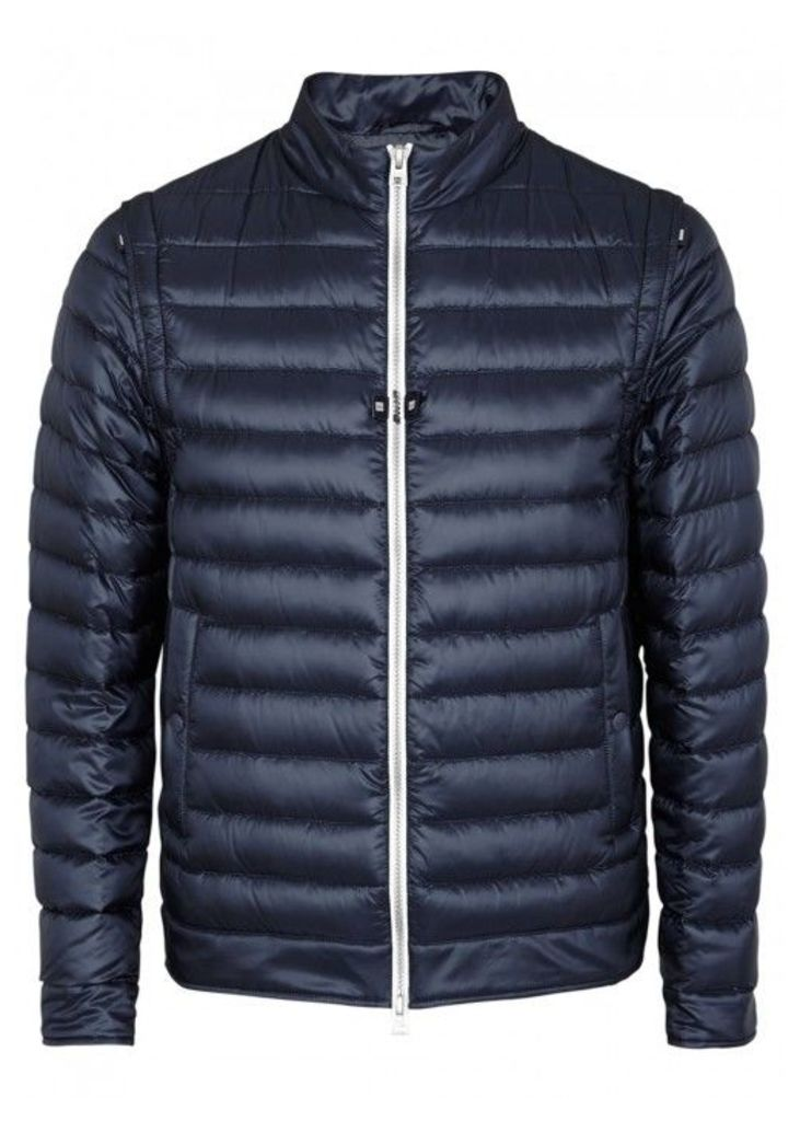 Herno Navy Quilted Chillproof Shell Jacket - Size 46