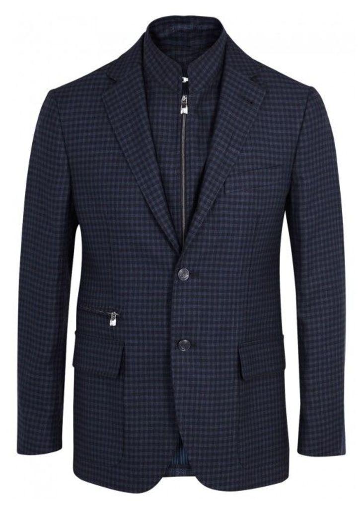 Corneliani Navy Checked Wool Blend Blazer - Size 38