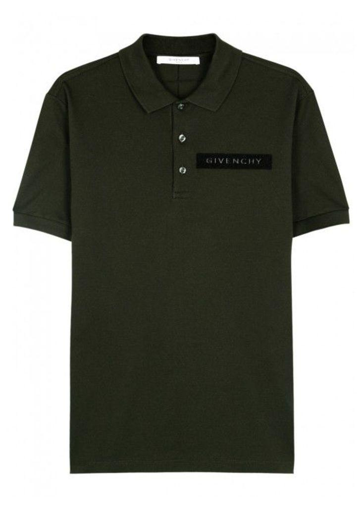 Givenchy Dark Green Piqué Cotton Polo Shirt - Size S