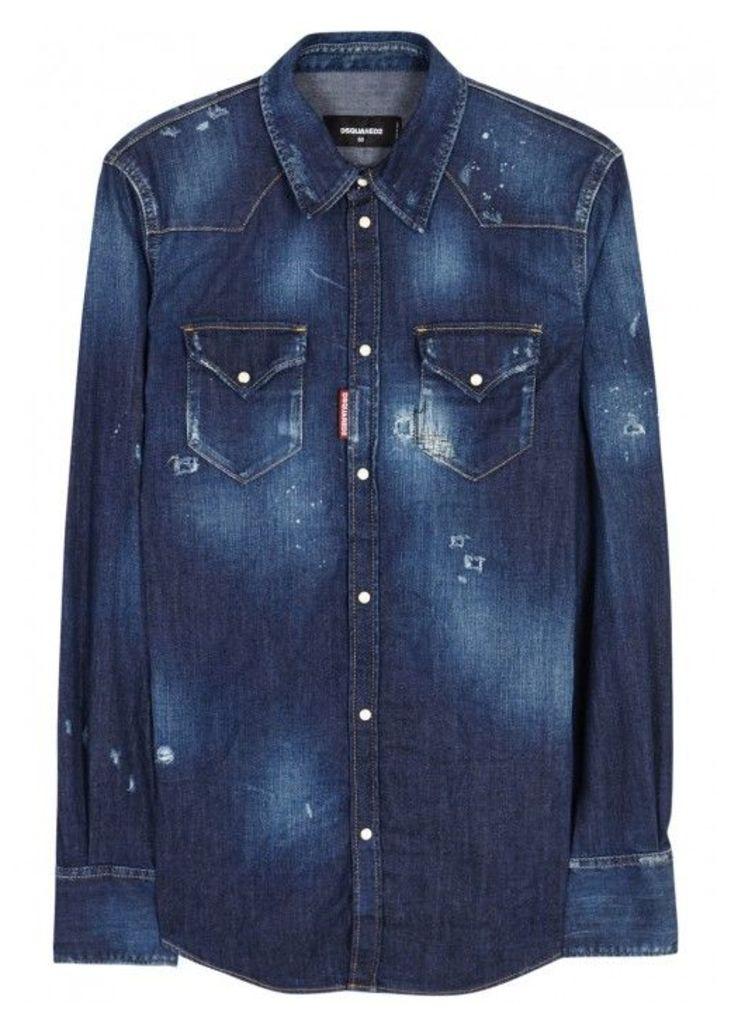 DSQUARED2 Dark Blue Distressed Denim Shirt - Size 36