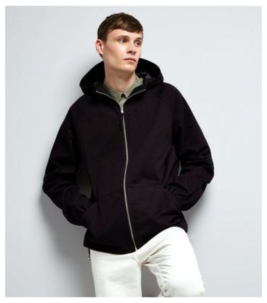 Black Zip Front Hooded Jacket