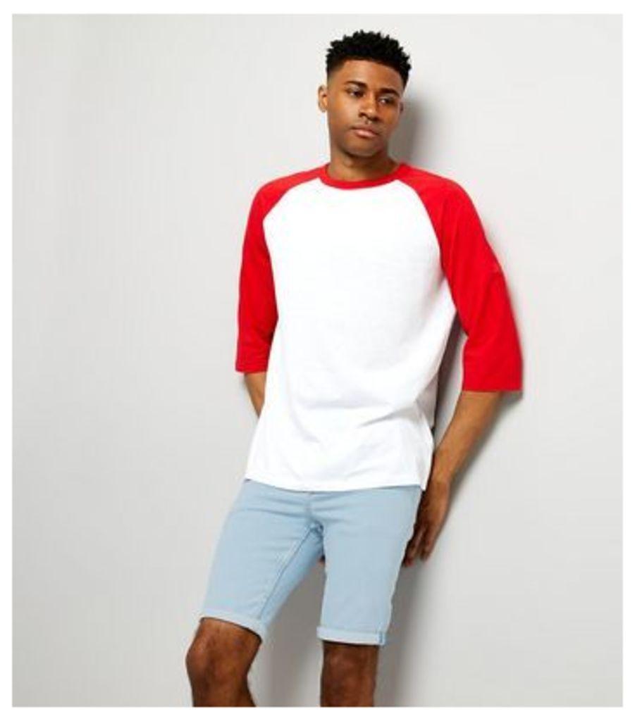 Pale Blue Light Wash Skinny Stretch Denim Shorts