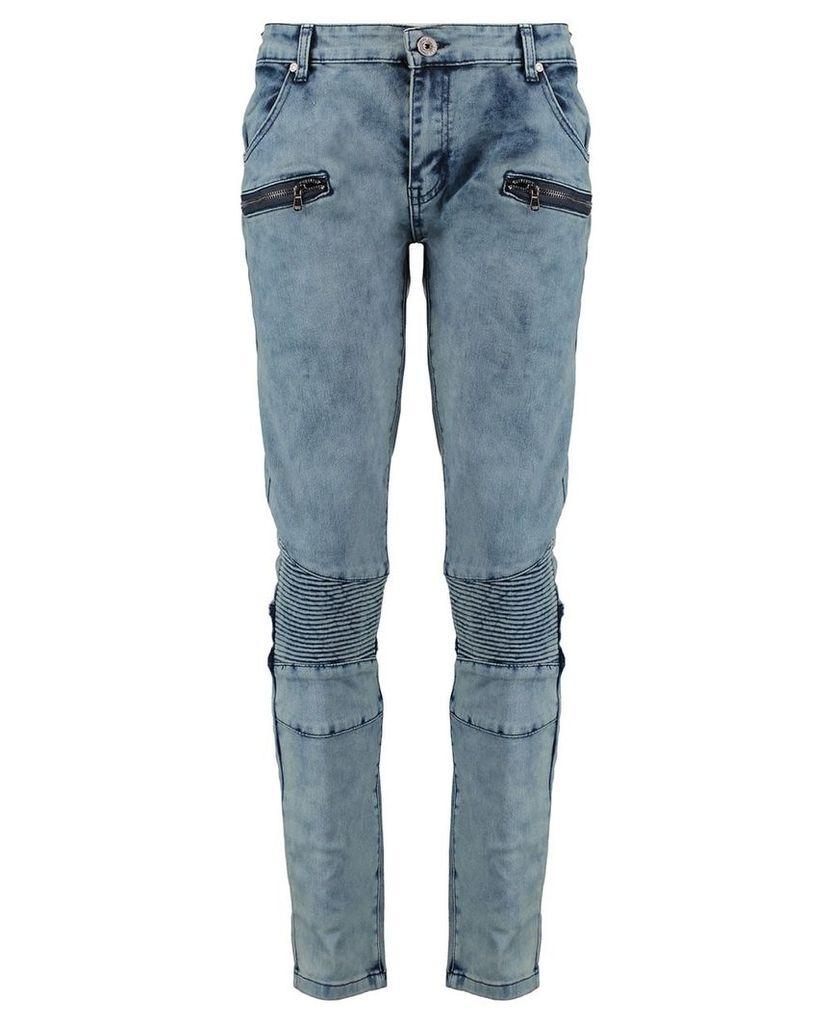 Men's Blue Inc Grey SoulStar Rib Effect Jeans, Grey