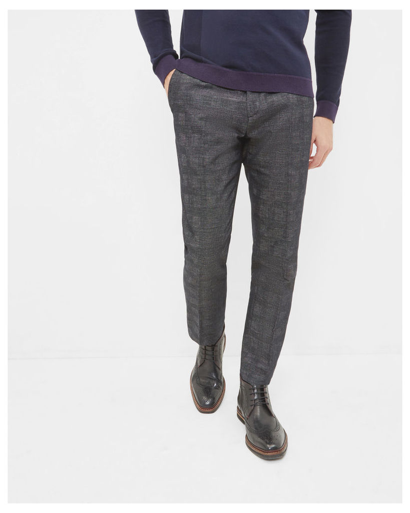 Ted Baker Checked linen and cotton-blend trousers Charcoal