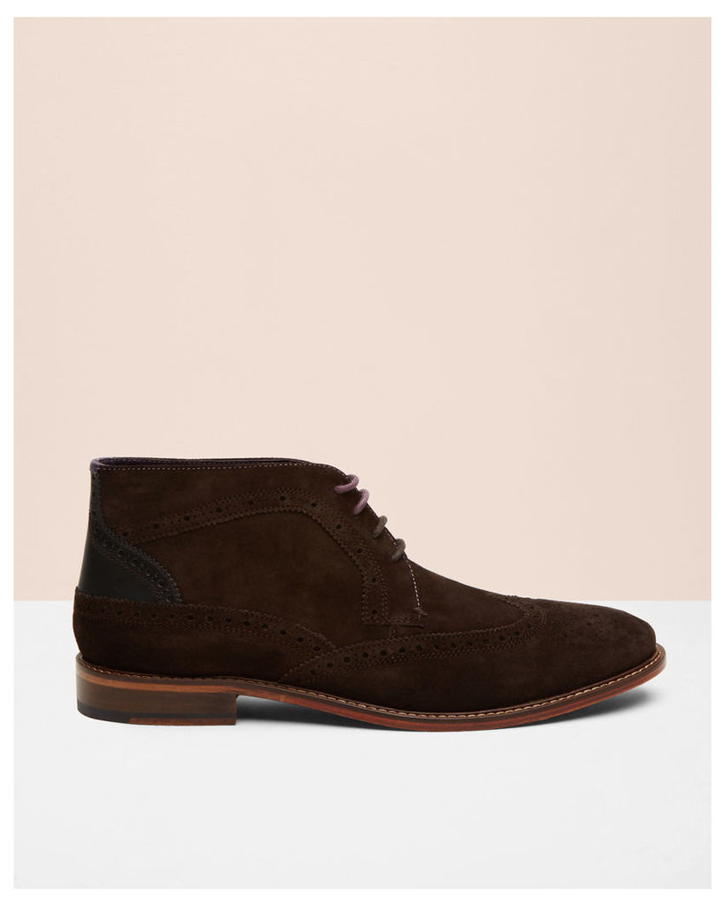 Ted Baker Brogue detail suede ankle boots Dark Brown
