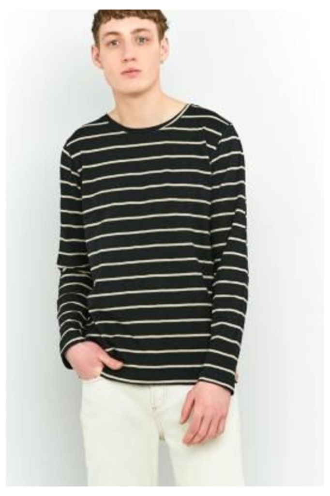 Nudie Jeans Orvar Black Breton Stripe Long-Sleeve T-shirt, BLACK