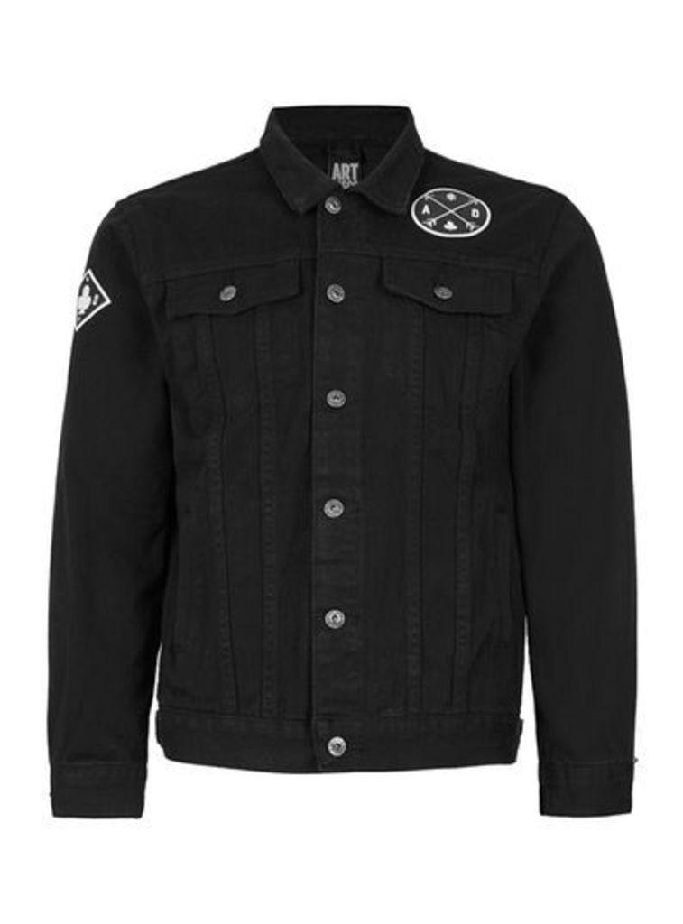 Mens ART DISCO Black Badged Denim Jacket*, Black
