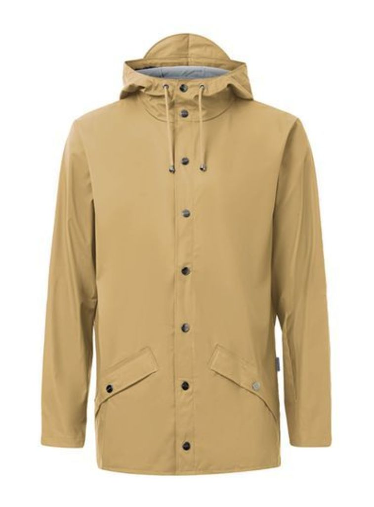 Mens Green RAINS Mustard Rain Jacket, Green