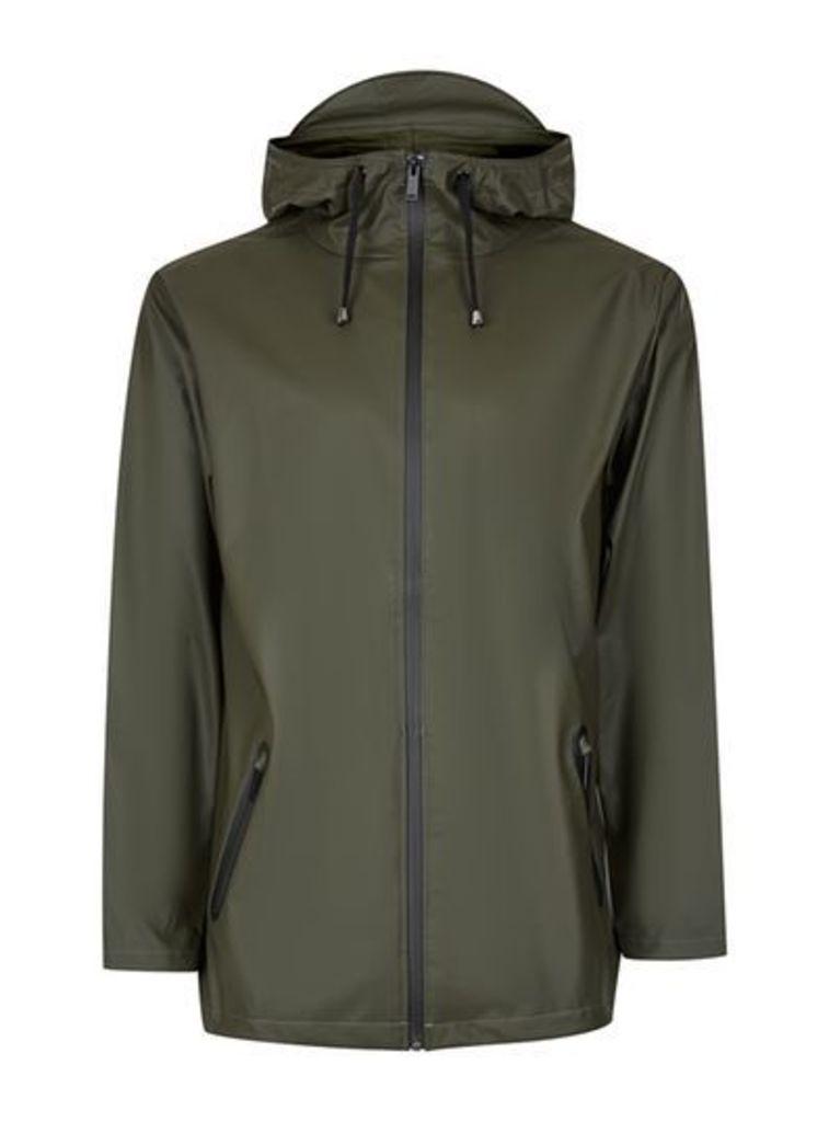 Mens RAINS Green Wind Breaker Jacket, Green