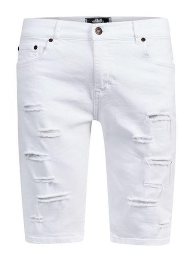 Mens SIKSILK White Distressed Denim Shorts*, White